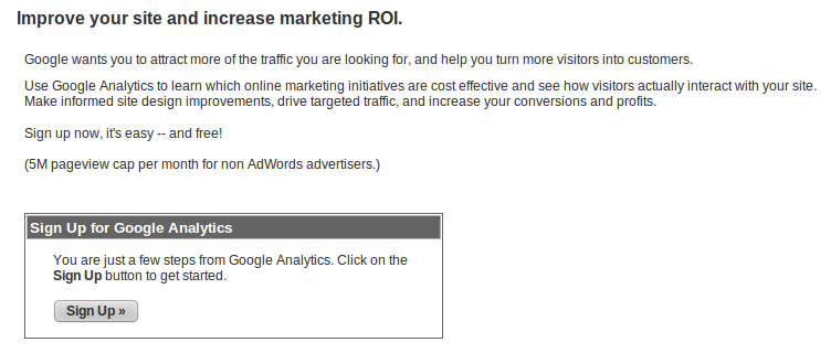 Signup For Google Analytics