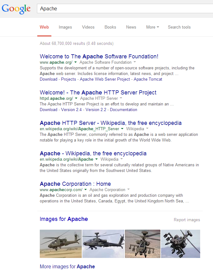 Apache Google Search Results