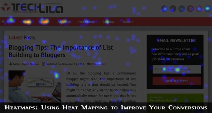 Crazy Egg TechLila Homepage Heat Map