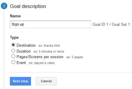 Create Goals Google Analytics Step2