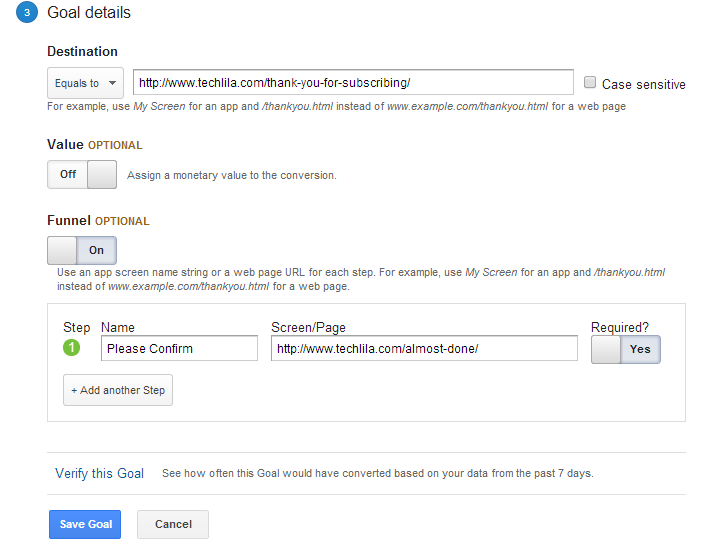 Create Goals Google Analytics Step3