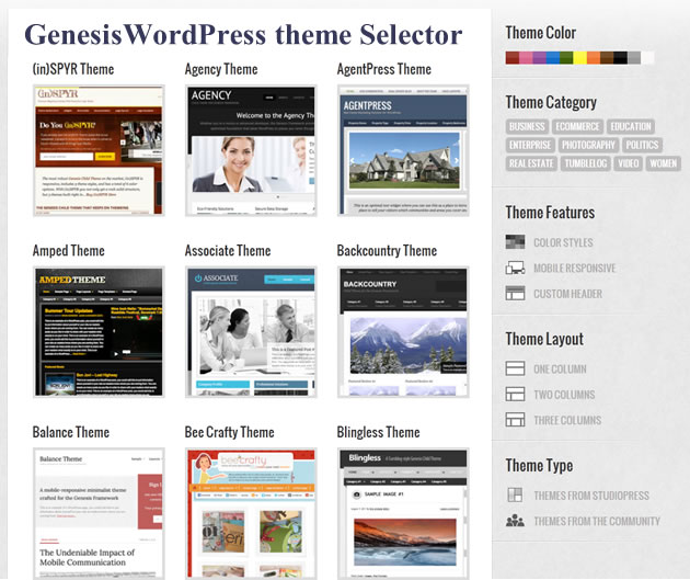 Genesis WordPress Theme Selector