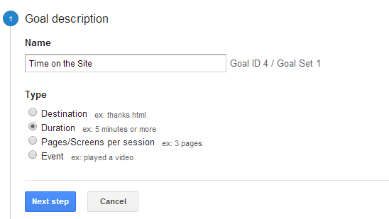 Goal Time On The Site Step1