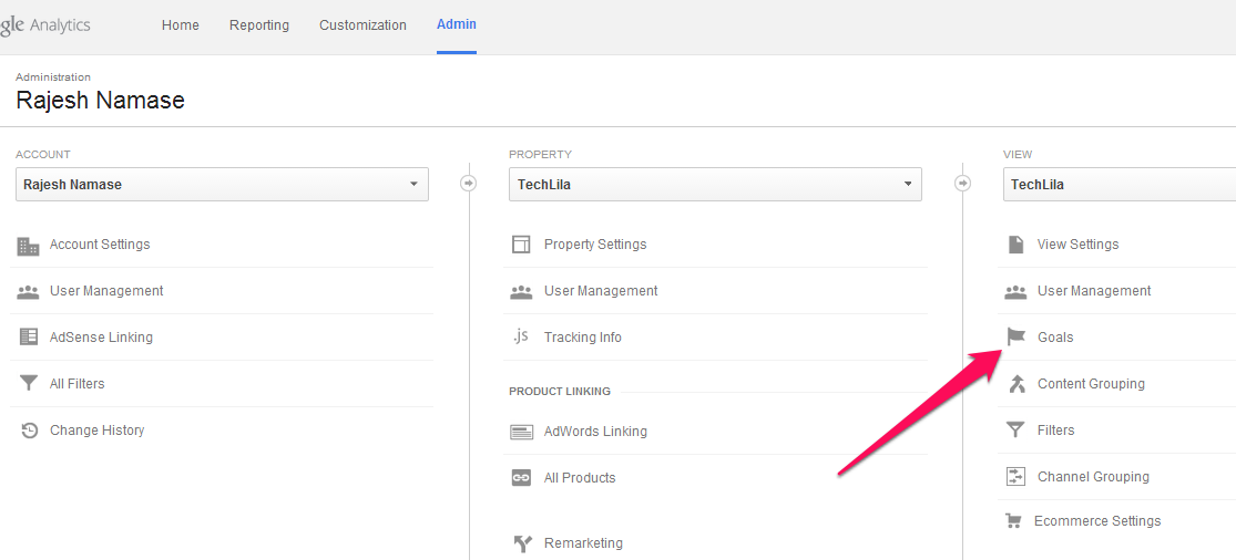 Google Analytics Admin Area