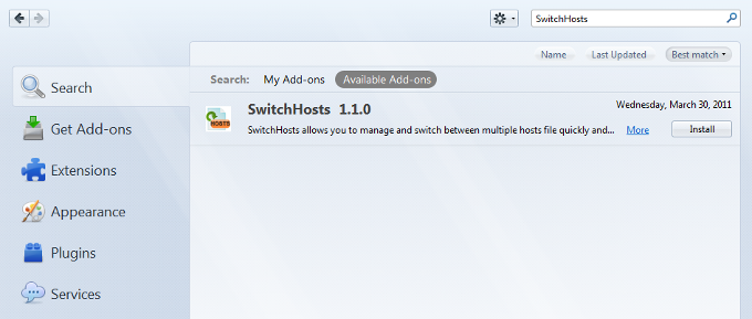Search Switchhost Addon