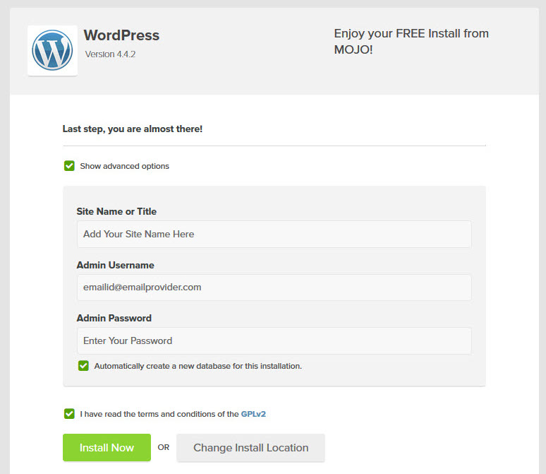 WordPress Install Advance Options