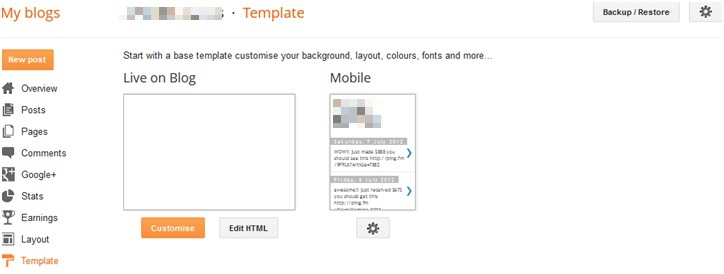 Blogspot Template Option