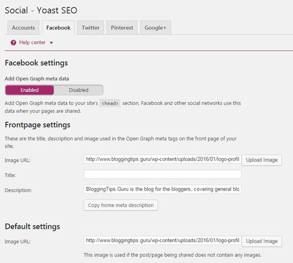 Yoast SEO Social Settings