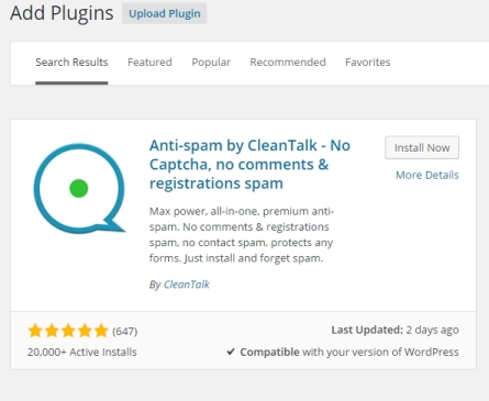 CleanTalk Plugin - Find Plugin